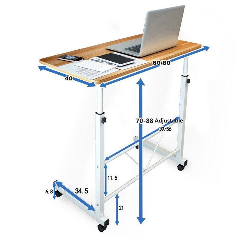 Wooden Adjustable Height Computer Desk Student Dorm Folding Table
