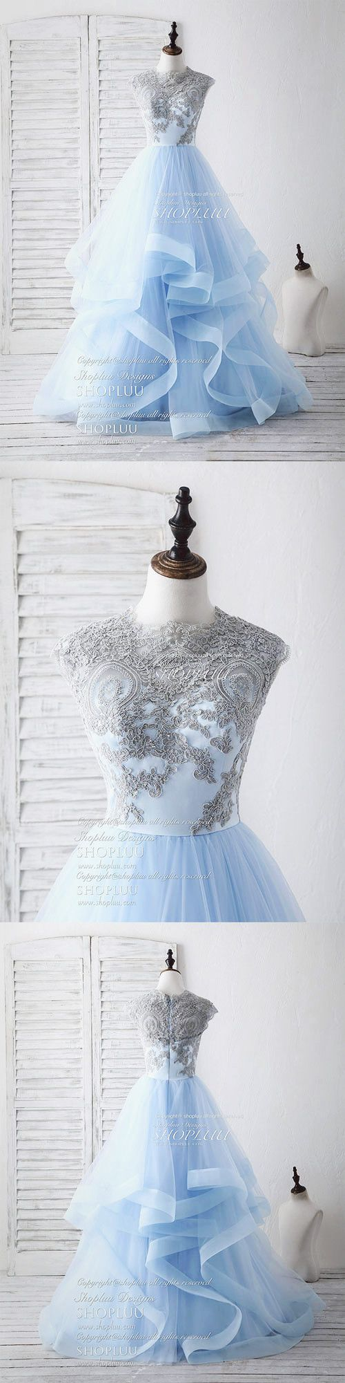 Blue tulle lace applique long prom dress blue tulle sweet dress