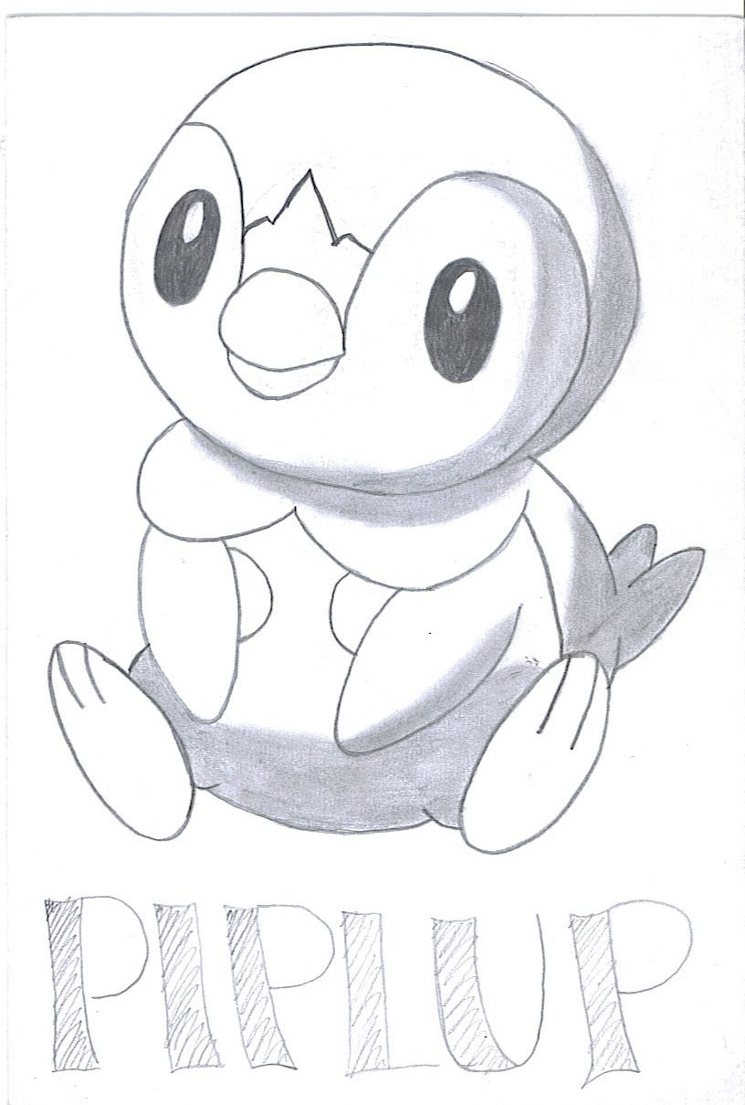 Pokemon Coloring Pages Piplup Teckningar