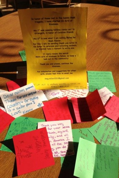 2- Notes to Veterans in honor of Noah Pozner. #26acts