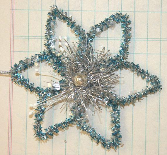 Handmade Vintage Style Star Snowflake Ornament wPink Vintage Mercury Glass Bead Center
