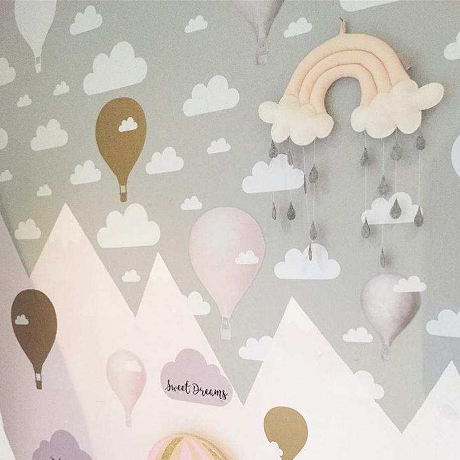 Hot Air Balloon Cloud wall decal, Nursery wall decals