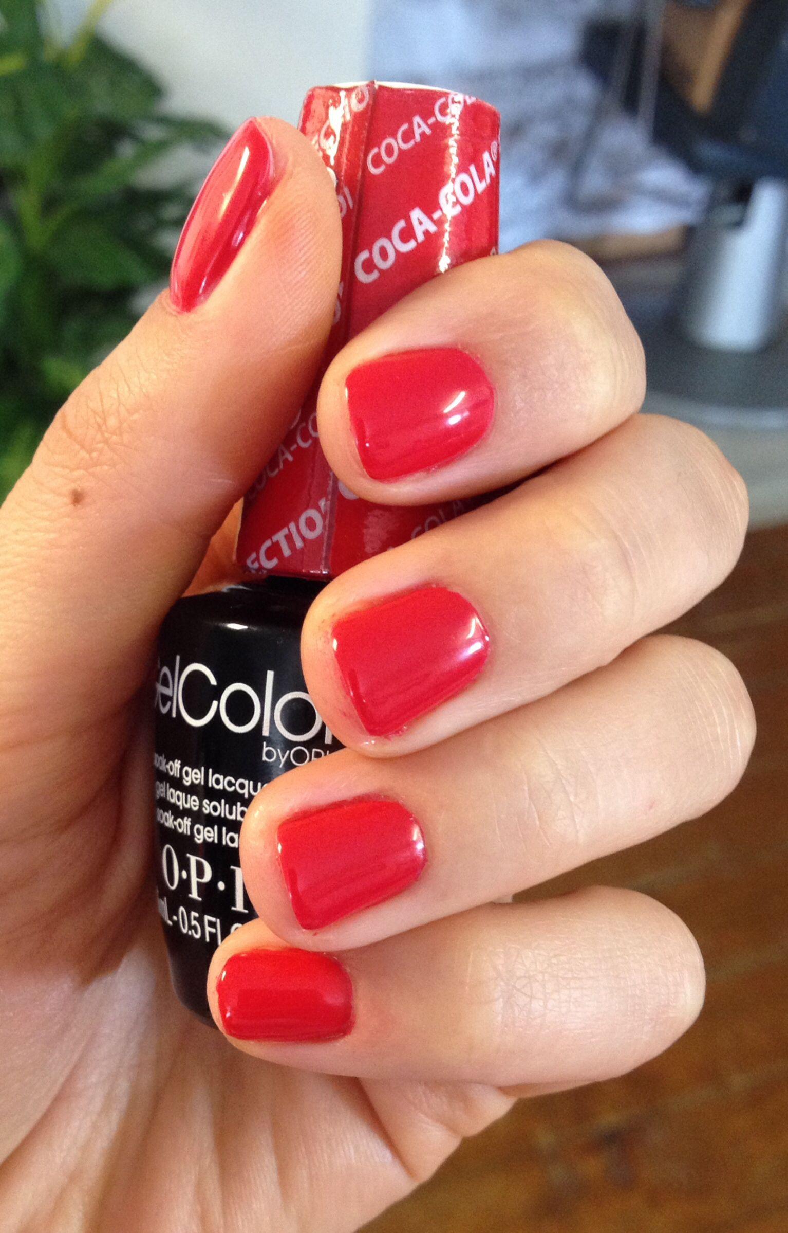 Coca-cola red OPI Gel | Beautiful nails. | Pinterest | Esmalte ...