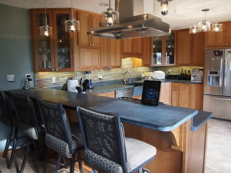 Our little natural cherry and soapstone kitchen posed for some not ...