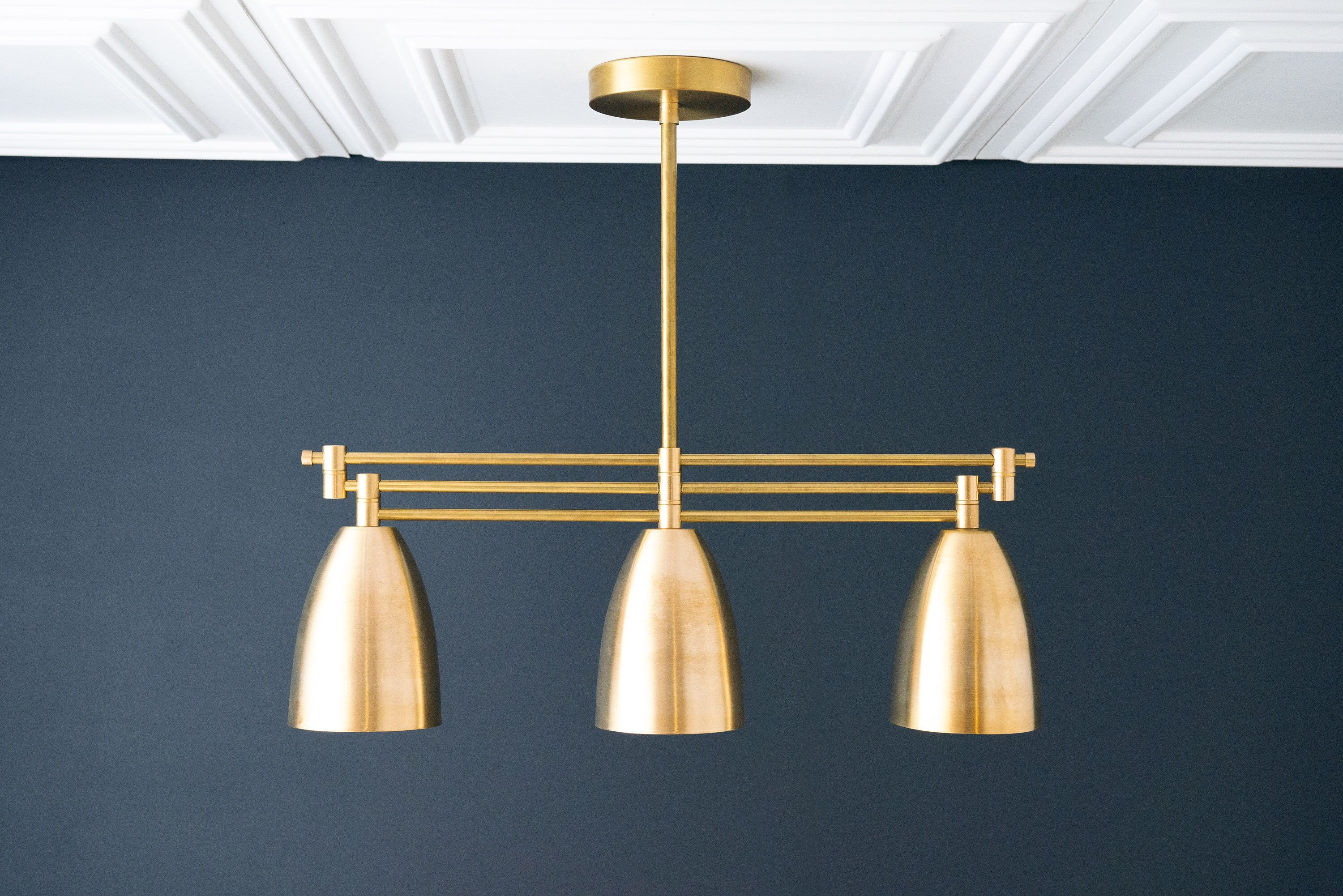 Photo of Raw Brass Chandelier – Can Lights – Art Deco Fixture – Minimalist – Ceiling Fixtures – Accent Light – Dimmable – Chandelier – Model No. 7473