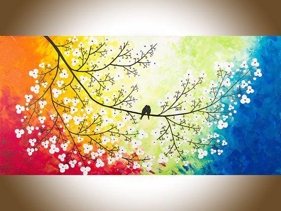 Large Wall Art Colourful Love Birds Art Red Yellow Orange Blue Rainbow Colors Art Bird Art Purple Canvas Art