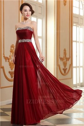 A-Line/Princess Strapless Floor-length Chiffon Prom Dress