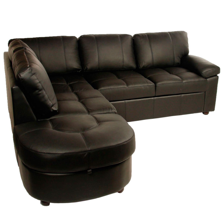 Lina Black Leather Corner Sofa Bed With Storage
