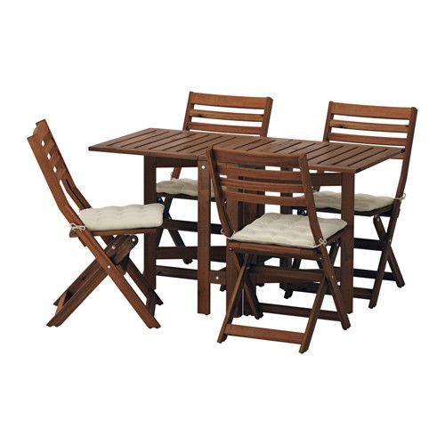 ÄPPLARÖ Bord og 4 klapstole, udendørs IKEA 2 klapper, så bordets størrelse kan tilpasses efter dit behov.