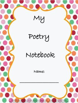 This is a Poetry Notebook cover with a Table of Contents There are