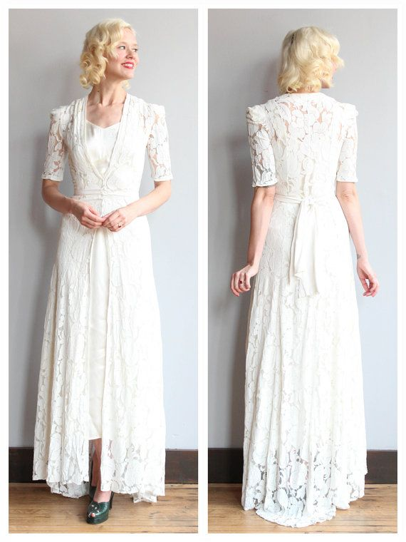 1930s Wedding Gown // Love & Lace Bridal Gown // vintage 30s lace ...