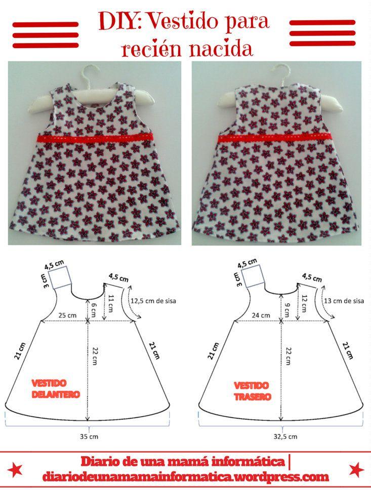 DIY: Vestido veraniego para recién nacida con cubre pañal a juego ...
