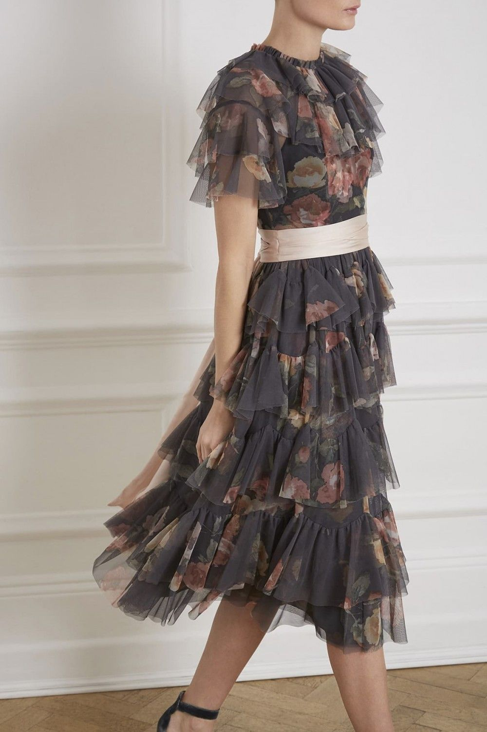 66e6750d68 Venetian Rose Tulle Dress in Graphite from the Needle & Thread PS19  Collection