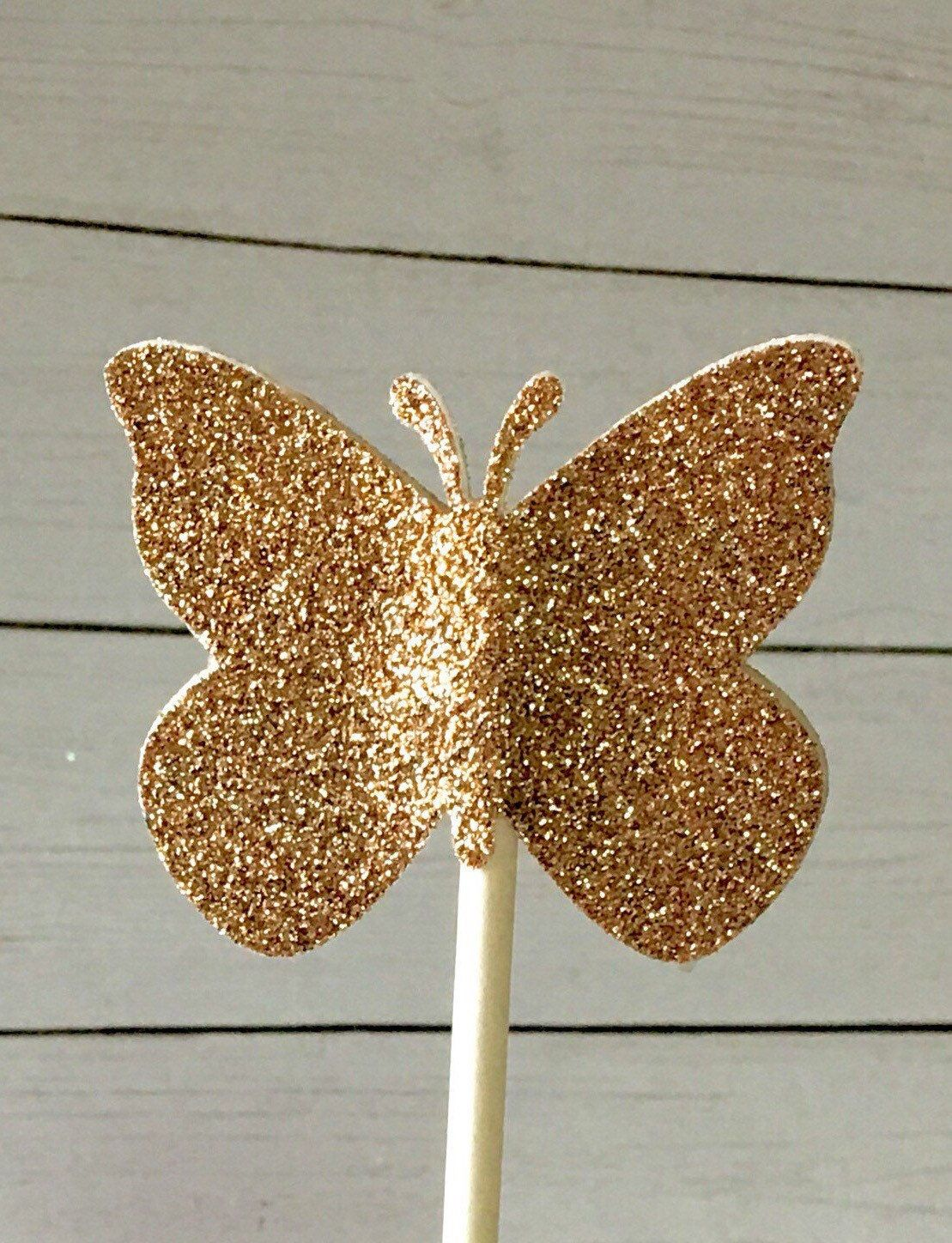 Rose Gold Butterflies cupcake toppers~Card Stock, Decor ...