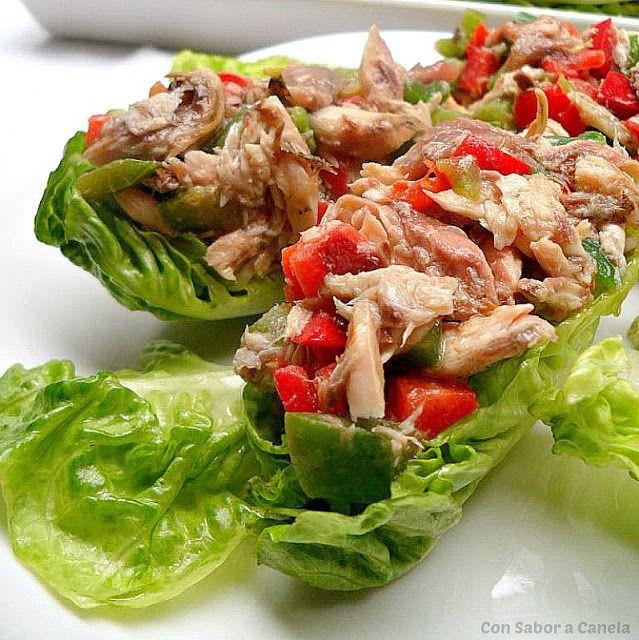 Cogollos De Lechuga Rellenos De Caballa Y Pimiento Verduras Recetas Vegetarianas Sanas Ensaladas Frescas
