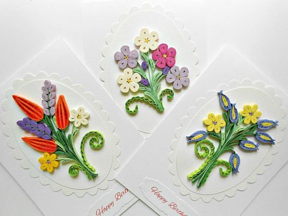 Quilling flowers card anniversary birthday also  spring rh pinterest