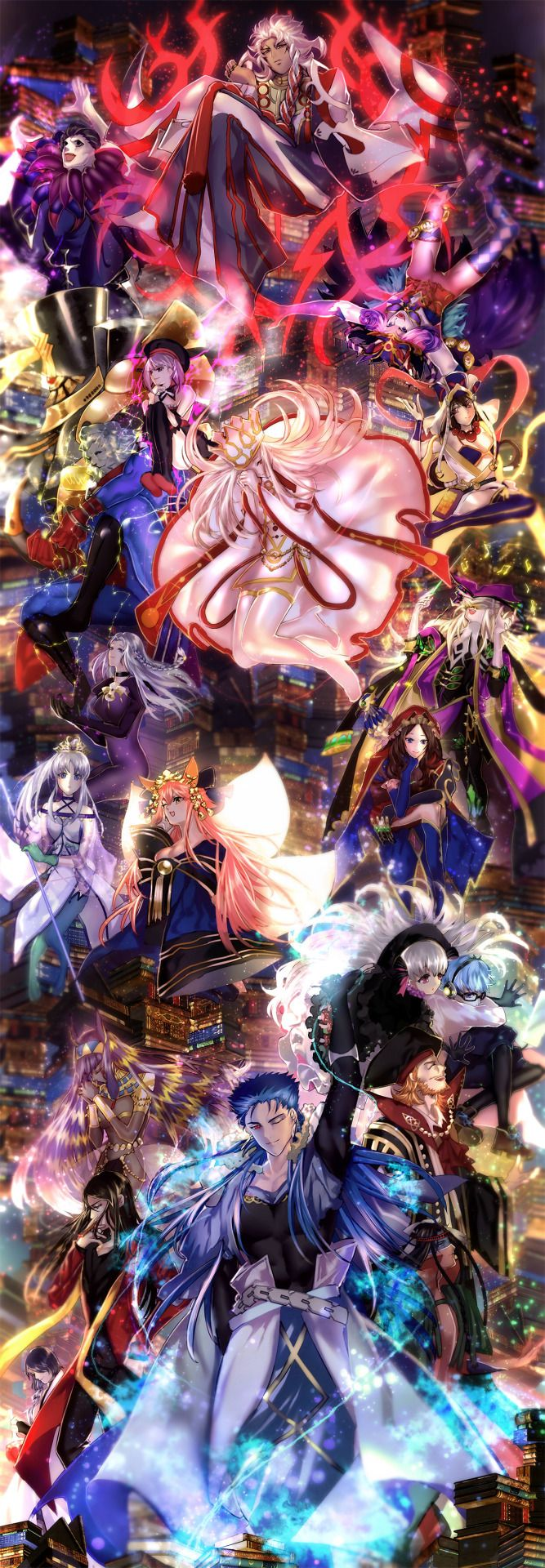 Caster - Fate/Prototype - Fate/Prototype Fragments of Blue and Silver - Fate/Labyrinth - Fate/Zero - Fate/Stay Night - Unlimited Blade Works - Heaven's Feel - Fate/Hollow Ataraxia - Fate/Strange Fake - Fate/Extra - Fate/Extra CCC - Fate/Apocrypha - Fate/Grand Order