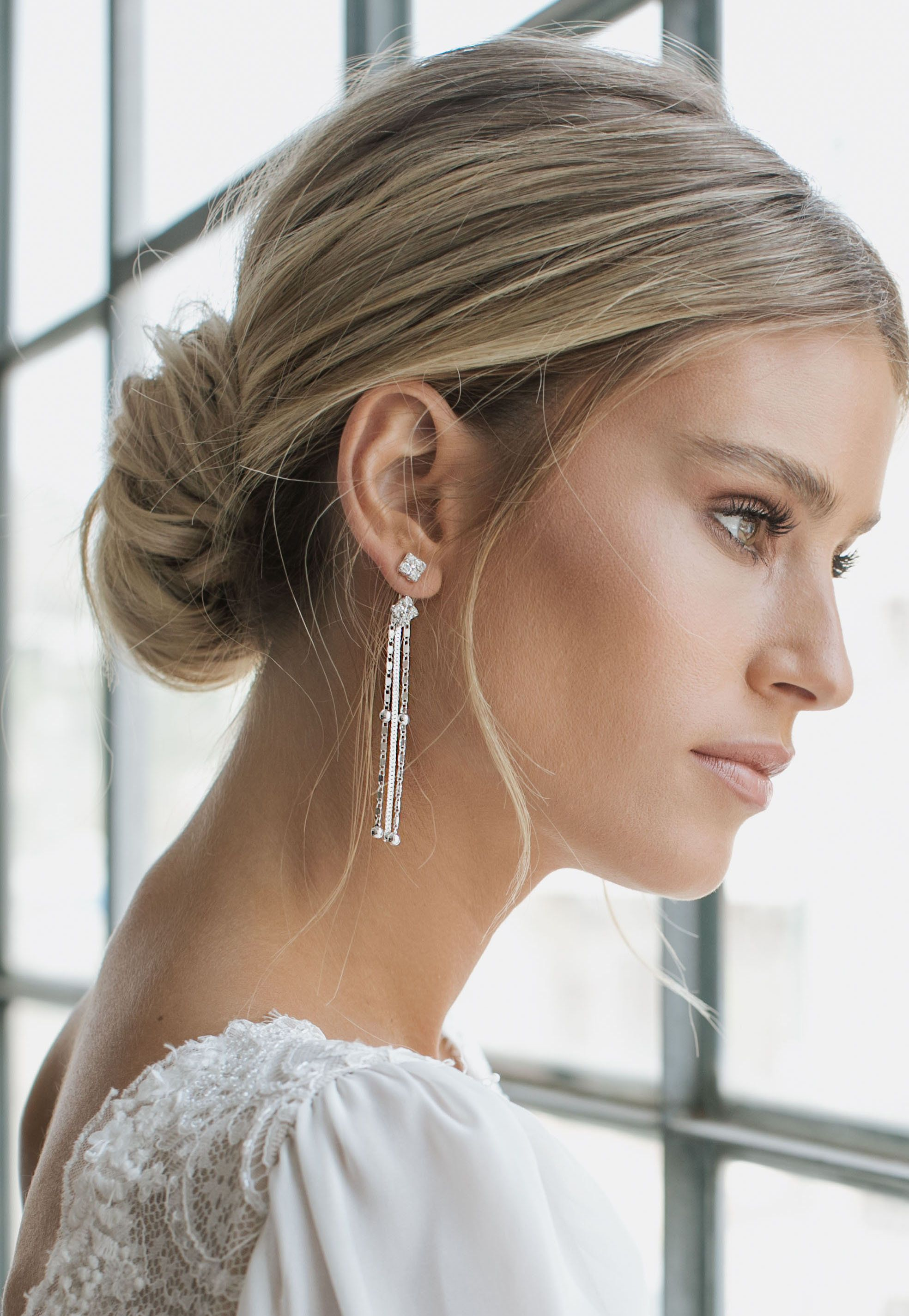 Bridal long Earrings Ear Jacket Earrings Bridal Crystal | Etsy
