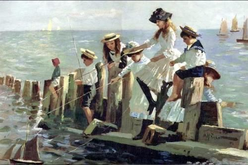 "Alexander Mark Rossi (1840-1916) - ""The Little Anglers"""
