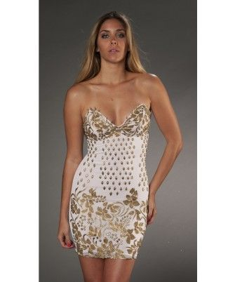 Roxanni Marie DressIn White With Gold By Holt  Find More : http://www.imaddictedtoyou.com/