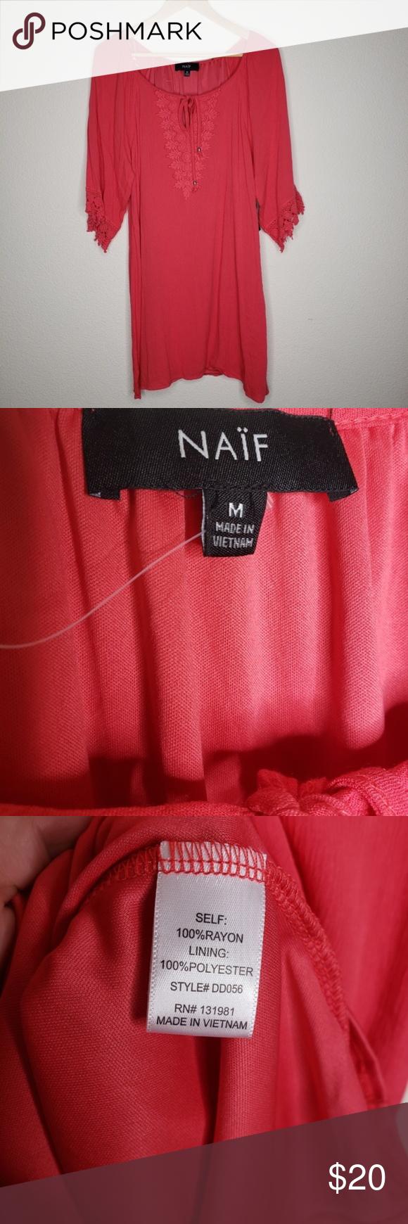 Naif Hot Pink Neck Tie Crepe Dress Naif Hot Pink Neck Tie Crepe Dress Tied neckline, embroidered front crepe material short sleeves with woven embelli…