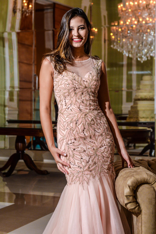 22b4f607a vestido longo, rosê, decote coração com transparência em tule, bordado até  os