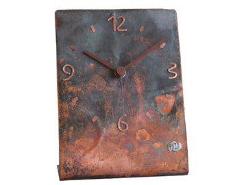 Copper table clock, Home decor, Original clock, Hand made clock, design clock, clock, rustic clock, clocks
