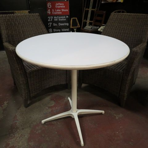 125 vintage mid century modern white steel small round dining table c