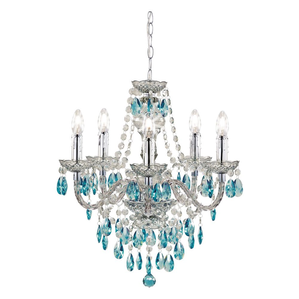 Wilko Chandelier 5 Arm Smoke With Blue Ceiling Light