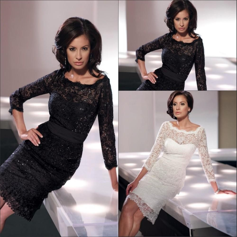 Wholesale Mother of the Bride Dress - Buy Black Or White Lace Mermaid Woman Formal Dresses Three-quarter Length Sleeves Beaded Crystals, $75.57   DHgate.com