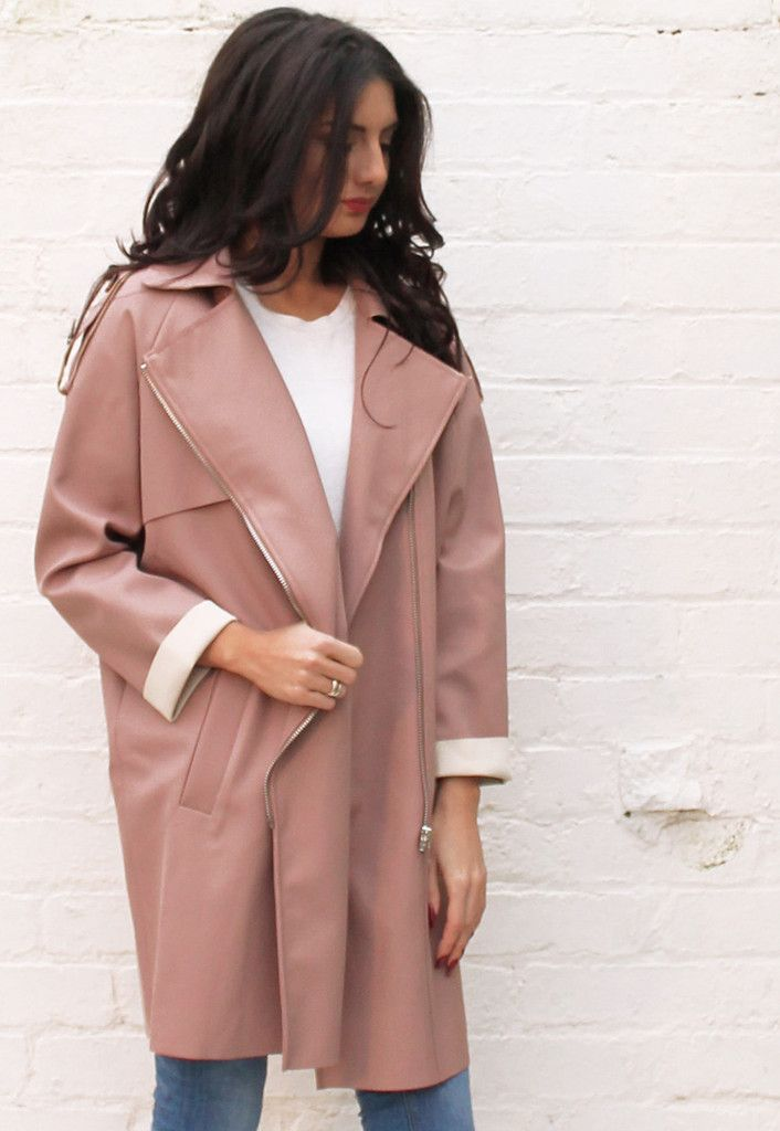 Contrast Edge Cocoon Trench Coat with Asymmetric Zip in Dusky Pink