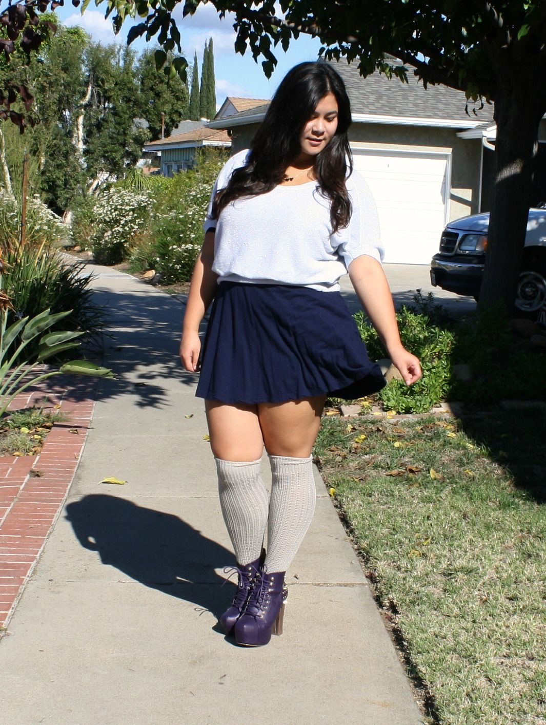 e9ef2cdc997 Dresses and Thigh-high socks for Winter . Curvy girls fashion