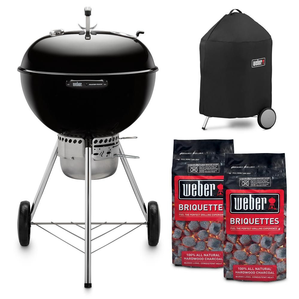 Weber 22 In Master Touch Charcoal Grill In Black Combo With Grill Cover And 2 Bags Of Weber Briquettes 18119 The Home Depot In 2020 Grill Cover Charcoal Grill Hardwood Charcoal