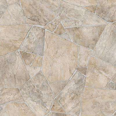 Broken Stone Beige 13.2 ft. Wide x Your Choice Length Residential Vinyl Sheet Flooring