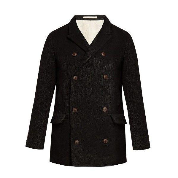 Giorgio Armani Double-breasted wool-blend pea coat (6.690 RON ...