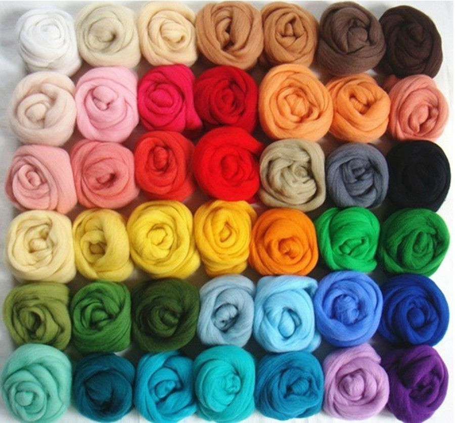 QICI 200g//7 oz Natural White Wool Roving Fiber Spin for Needle Felting Hand Spinning DIY