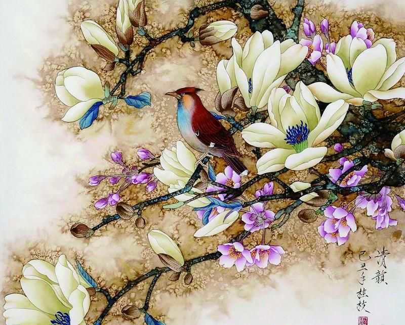 Bird and Flower - Easy DIY Paint by Numbers Kits #bird #animal #DIY #paintbynumber  #canvas #canvaspaintings #drawings #prints #art #designs #canvasforhome #decor #beautiful #canvas1pieces