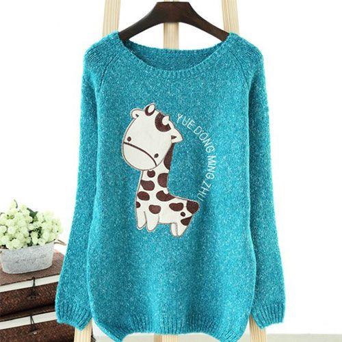 grxjy560794]Cute Deer Print Irregular Hem Loose Knit Sweater ...