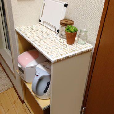 狭いキッチンでマルチに 使えるキッチンワゴン 狭い キッチン キッチンワゴン Diy キッチンワゴン