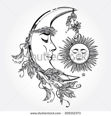 Hand Drawn Crescent Moon With Feathers And In The Crown Of Leaves Sticks Sleeping Sun Next