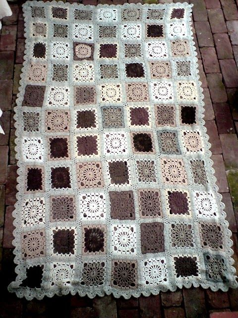 Granny squares. I love everything about this! Great colors!!