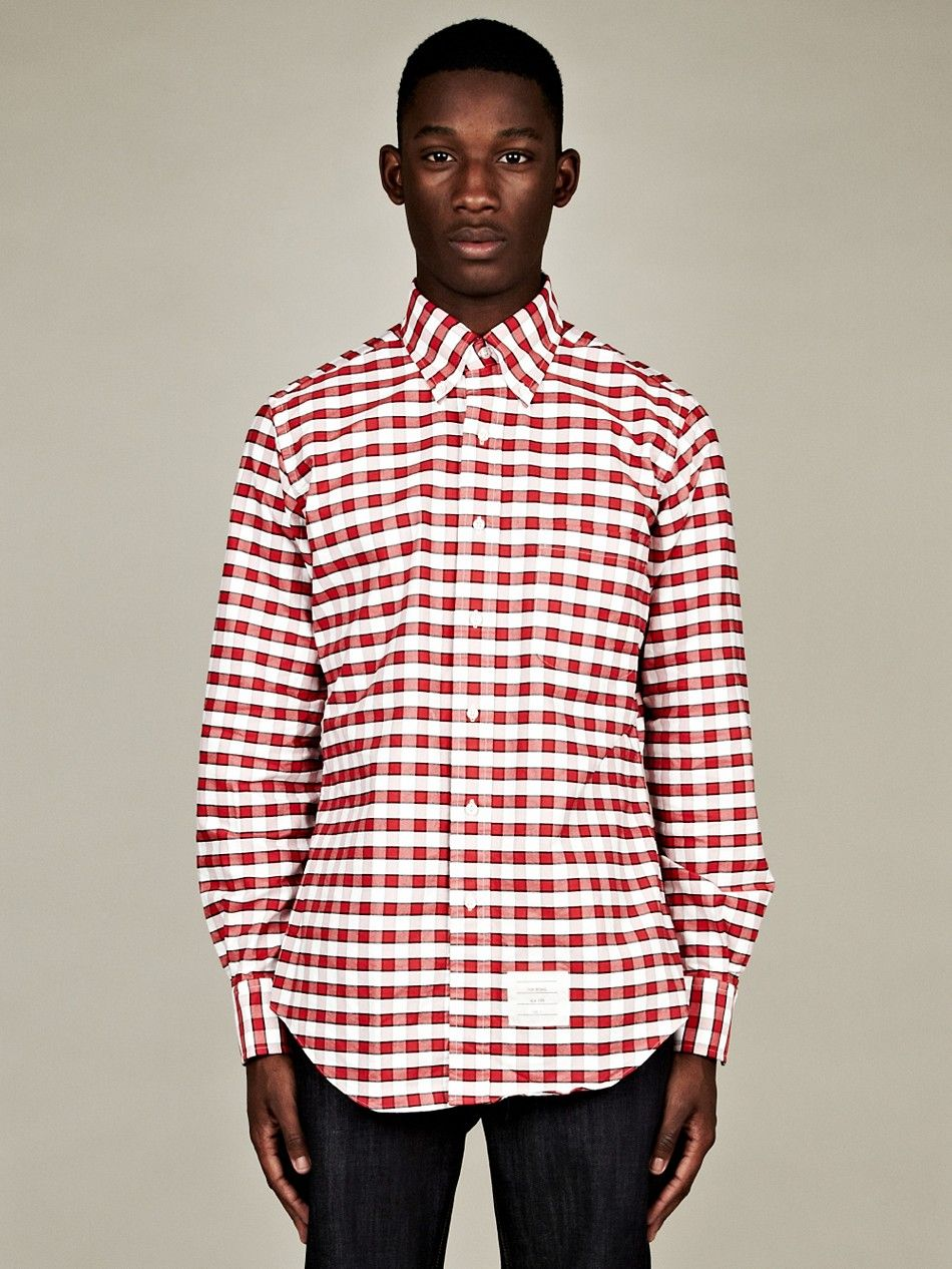 THOM BROWNE MEN'S CLASSIC COLLAR GINGHAM SHIRT