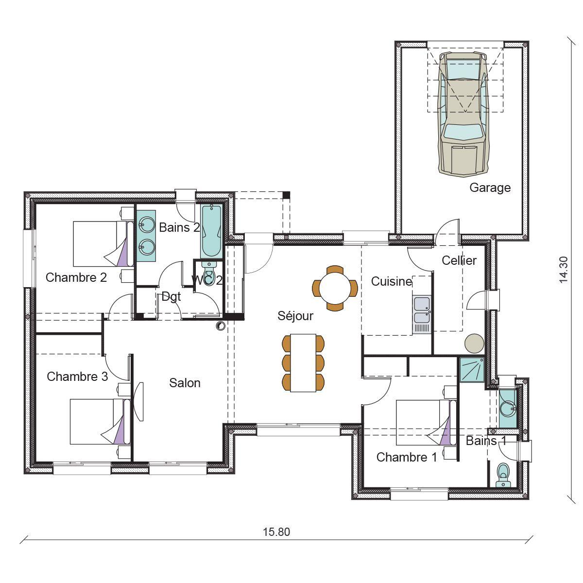 Maison Plain Pied 3 Chambres Maison Plan Maison Plan Maison Architecte