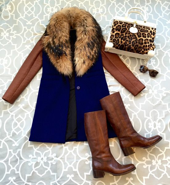 Diane Von Furstenberg Size 2 Wool Body Leather Sleeve Fur Collar Coat