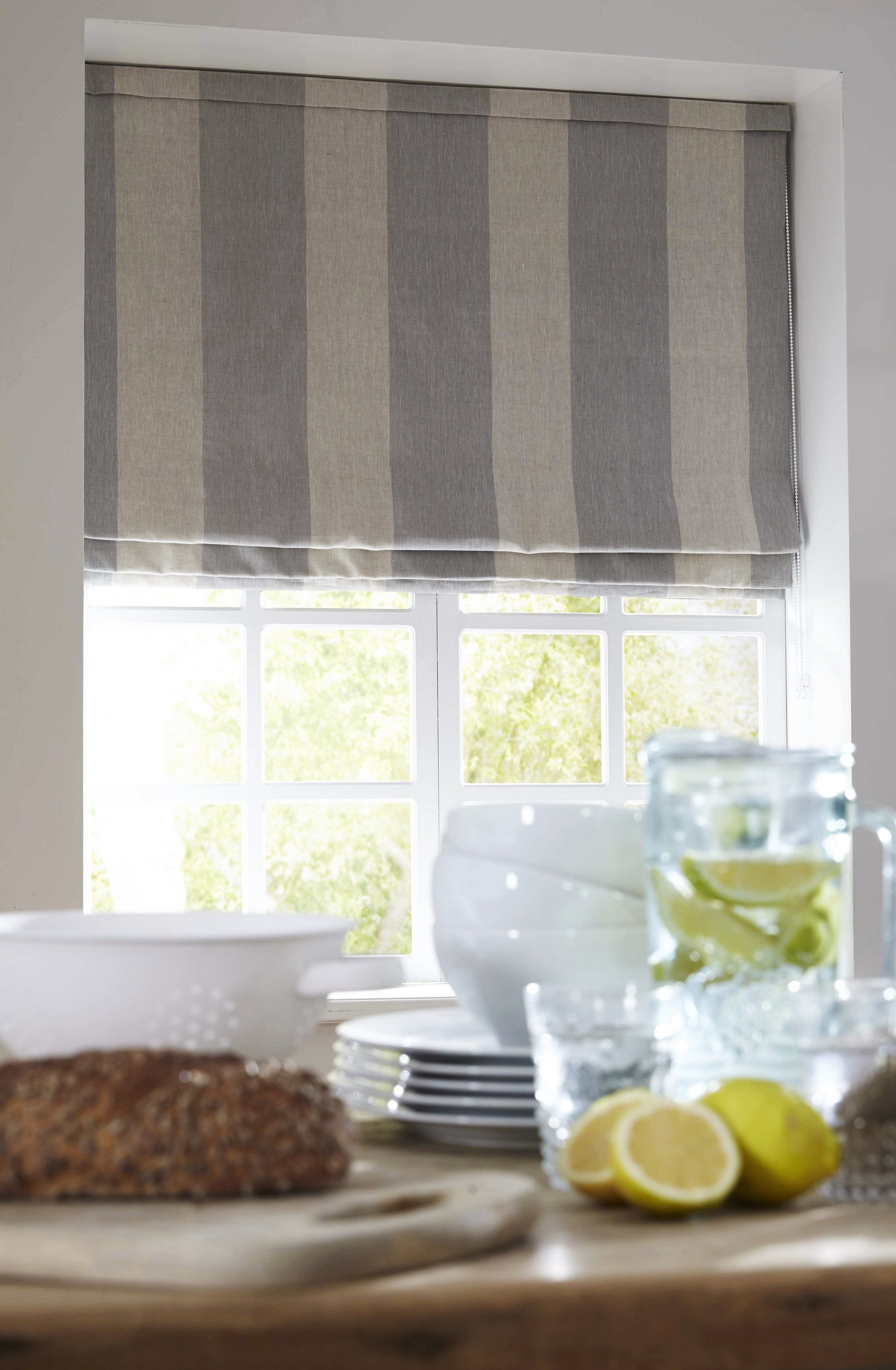 Blue And White Striped Country Kitchen Roman Blind Made With Cabbages Roses Fabric Apollo