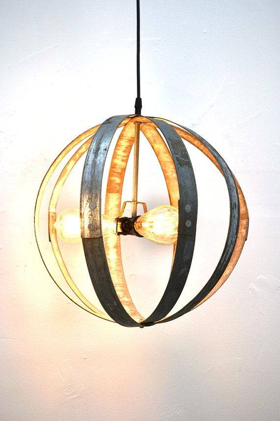 15 Wine Barrel Ring Globe With Tri Light 100 Recycled Wine