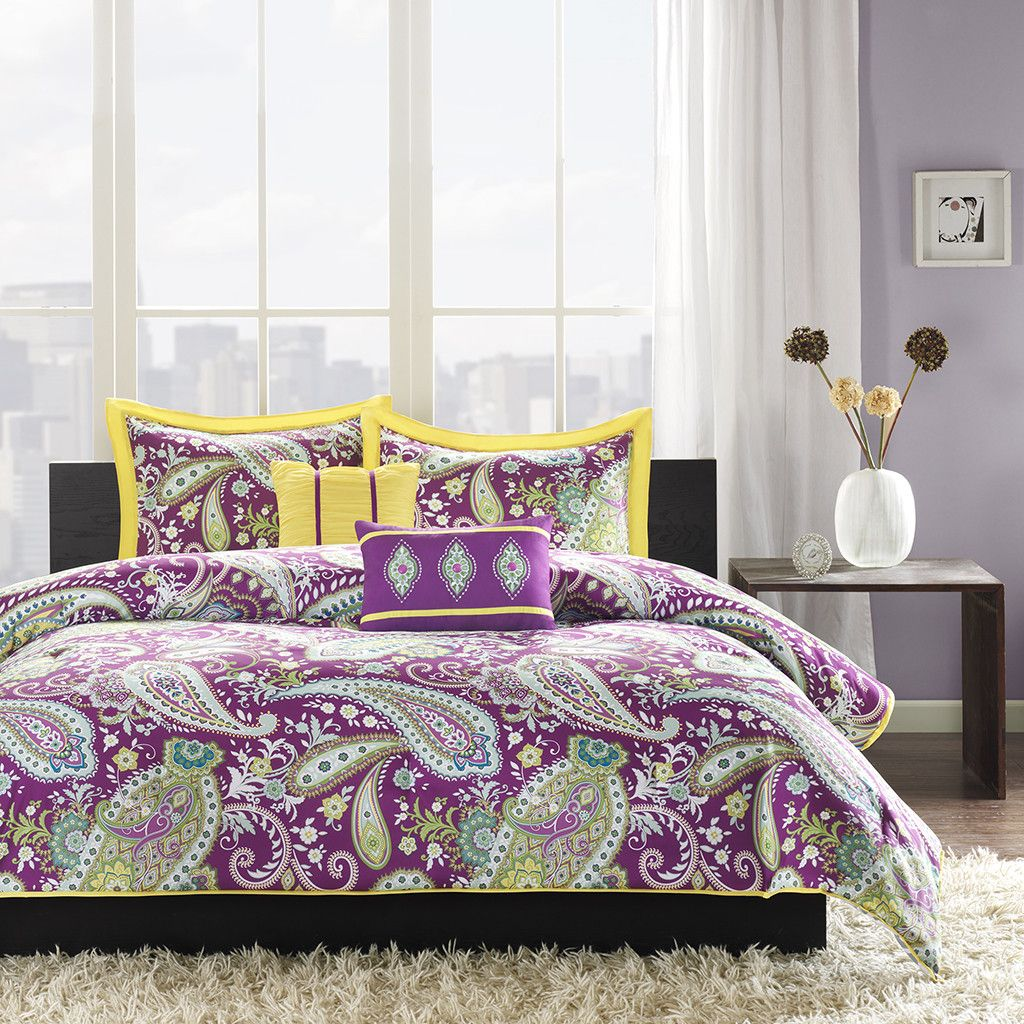 Intelligent Design Melissa Comforter Set Yellow Purple Paisley