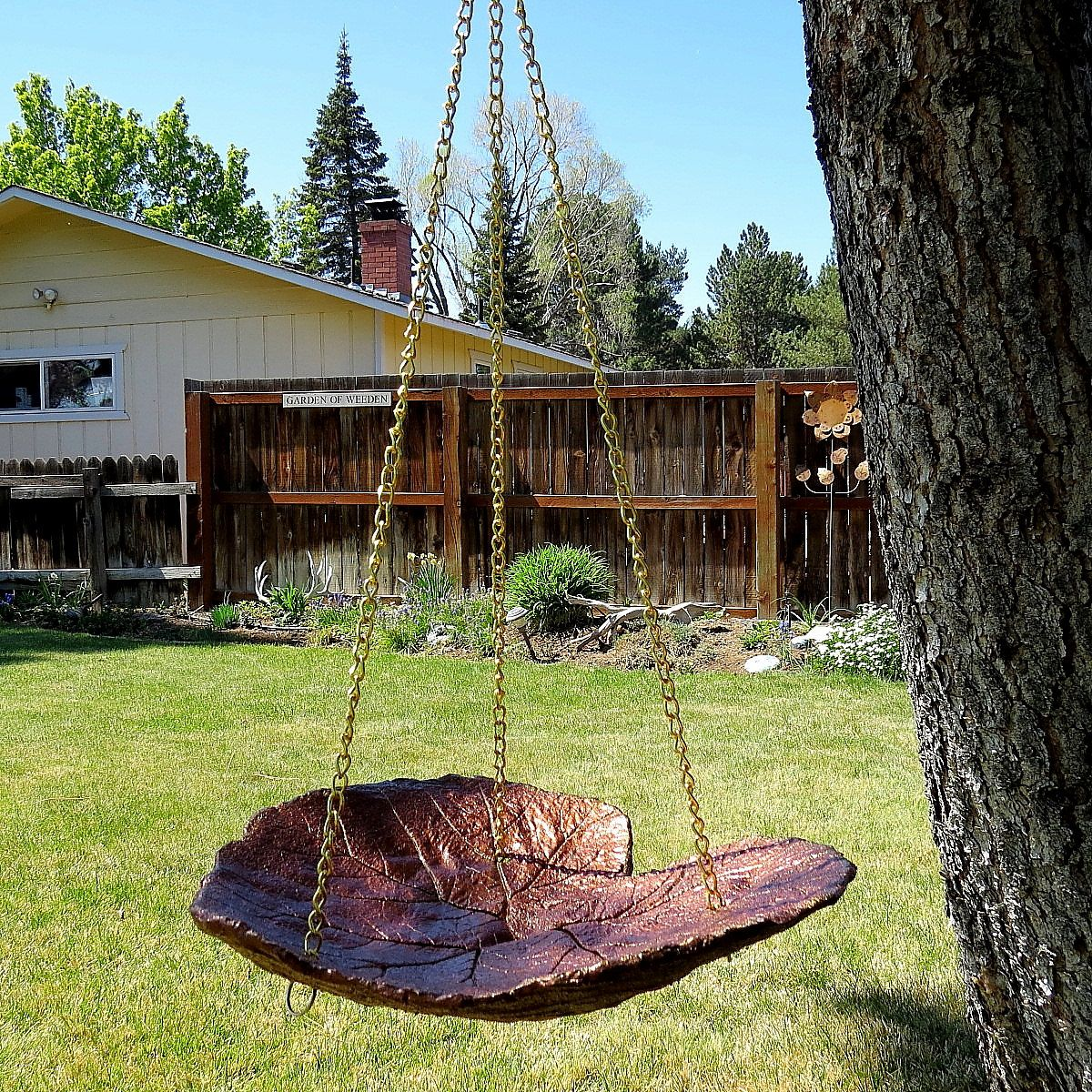 copper colored hanging leaf bird bath one of a kind concrete leaf