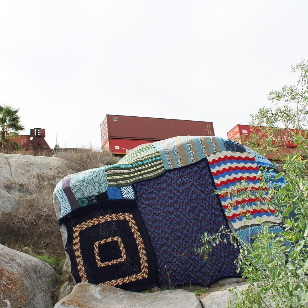 There Is A River Here community yarnbomb by Threadwinners. Riverside, CA, 2016.