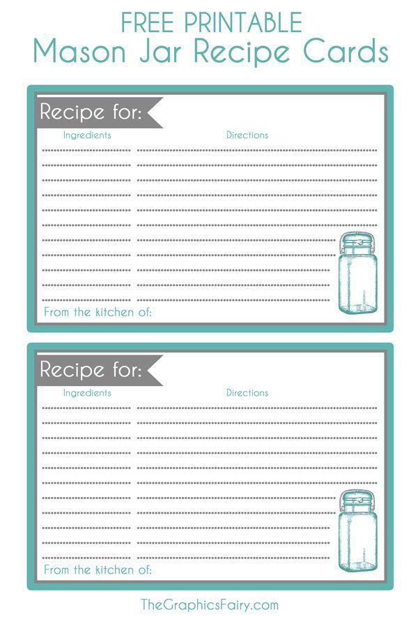 Mason Jar Recipe Card Printable Printable Recipe Cards Pinterest